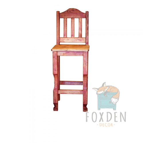 red rustic barstool