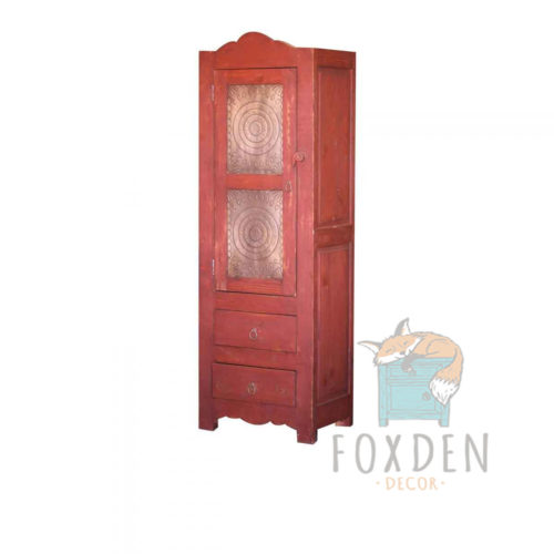red linen cabinet