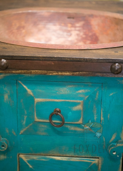 Rustic Vanity Drop in Sink Turquoise 4 15514
