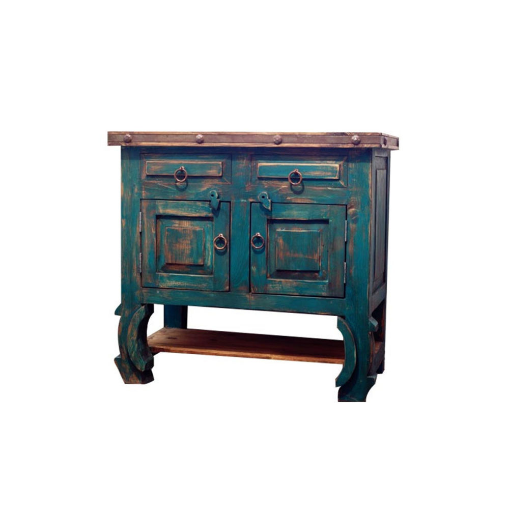 Rustic Turquoise Bathroom Vanity 14314
