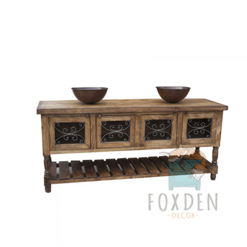 15014 - Natural Rustic Vanity with Metal Designed Doors