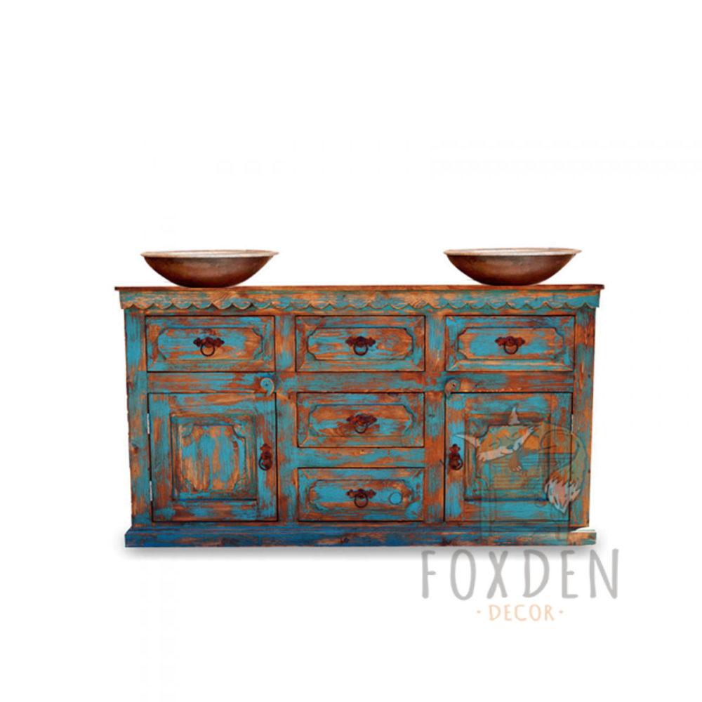 double sink turquoise vanity