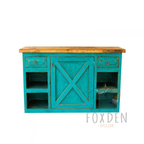 Rustic Turquoise Farmhouse Vanity 81123