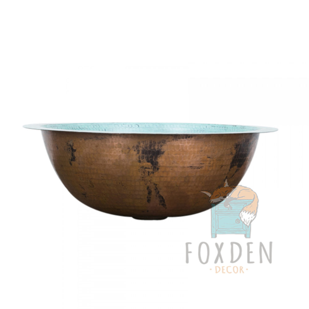 copper turquoise round drop in sink