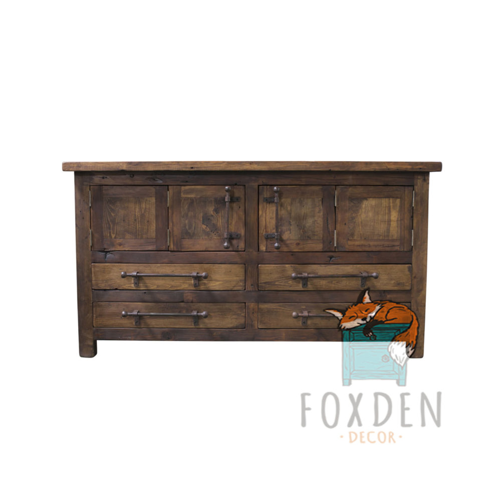 double sink rustic console