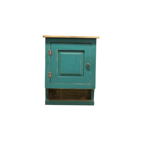 turquoise medicine cabinet